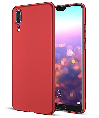 EIISSION Case Kompatibel mit Huawei P20 Hülle, Hardcase Ultra Dünn Huawei P20 Schutzhülle aus Hart-PC Case Cover Handyhülle für Huawei P20 - Rot Rot Hard Case