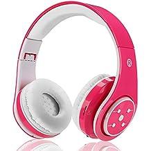 Auricular Bluetooth sin hilos para los ninos los adultos sonido estereo venda de los auriculares sobre el receptor de cabeza del oido Bluetooth plegable con ...