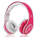 Drahtlose Kopfhörer für Kinder Erwachsene,Über Ohr Bluetooth Kopfhörer Wiederaufladbare Faltbare Bluetooth-Headset mit Mikrofon 3.5mm Jack für Hände Kostenlos Anrufen,Kompatibel mit Smartphones PC Tablet etc Bluetooth Geräte Rose