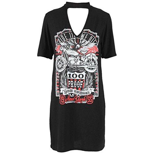 Fashion Essential-Women Choker Neck 100 Proof Biker König der Straße New York Print Top Black