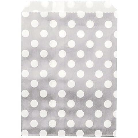 24 sacchetti di carta Grigio pois bianchi Taglia Unica