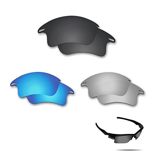 fiskr anti-saltwater Polarisierte Ersatz Gläser für Oakley Fast Jacket XL Sonnenbrille 3Paar Pack, Stealth Black & Metallic Silver & Ice Blue