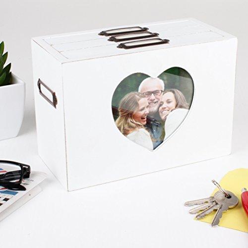 Weiß Holz Herz Foto Aufbewahrungsbox–schaffen schönen 5. Hochzeitstag Geschenk Idee–h13.5X l19.5X B 9,5(Z295)