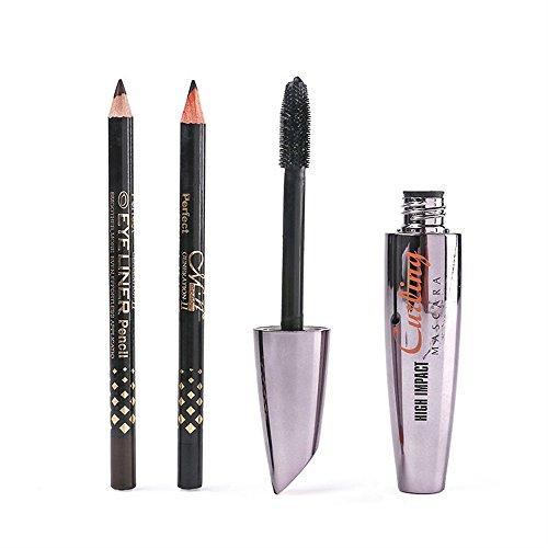 Outils de maquillage créatifs à la mode Mascara épaisse de mascara de cil de femmes pratiques avec des crayons d'Eyeliner de 2pcs Make Up Set