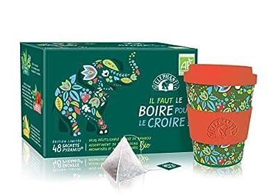 Elephant Idée Cadeau Coffret de Noël Assortiment de 6 Infusions Biologiques Aromatisées, Mug en Bambou Réutilisable, Certifié AB Agriculture Biologique, 48 Sachets
