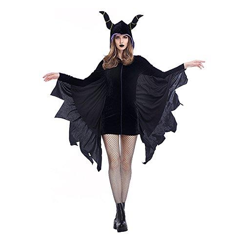 Homelix Frauen Disney Maleficent Black Fledermaus mit Kapuze Taufe Halloween-Kostüm ()