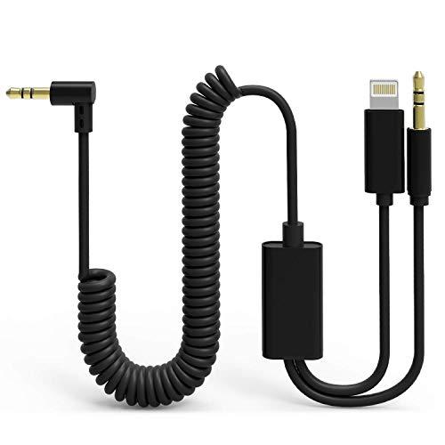 UNOOE Aux Kabel für i Phone im Auto, 2 in 1 Phone 8/7/6 Aux-Kabel für Auto [Wendel+90-Grad-Kopf] Verwicklungsfreies Phone X / XS / MAX 3,5 mm Aux Adapter iOS Android Smartphones