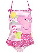 Costume da bagno di Peppa Pig per bambine. Graziosissimo costume da bagno caratterizzato da un'adorabile stampa di Peppa mentre si gode il suo ghiacciolo e il sole estivo. Questo costume da bagno ha uno sfondo a strisce, dei fronzoli rosa con...