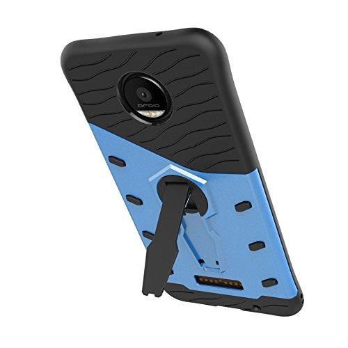 Für Moto Z Force Case Neue Rüstung Tough Style Hybrid Dual Layer Rüstung Defender Soft TPU / PC Rückseiten Cover Case mit 360 ° Stand [Shockproof Case] ( Color : Red ) Blue