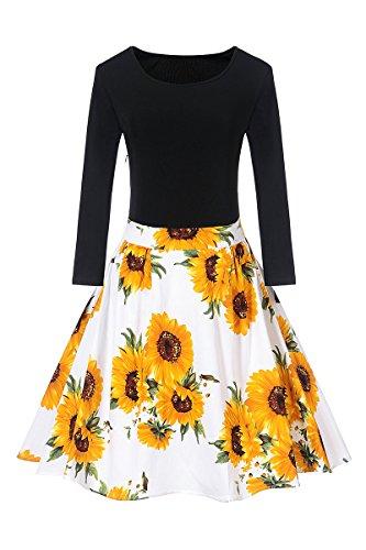YMING Damen Elegant Vintage Kleid Langarm Kleid Blumenmuster Faltenrock Rundhals Midikleid,Schwarz,Sonne Blume,XS,DE 32 34