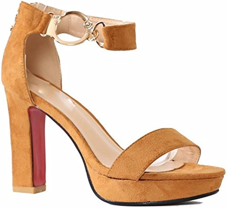 KHSKX-Lo Stile Britannico Scarpe Con La Fibbia Sandali Studenti Sono Grosse Scarpe Col Tacco Alto A Roma34 Giallo | eccellente  | Scolaro/Ragazze Scarpa
