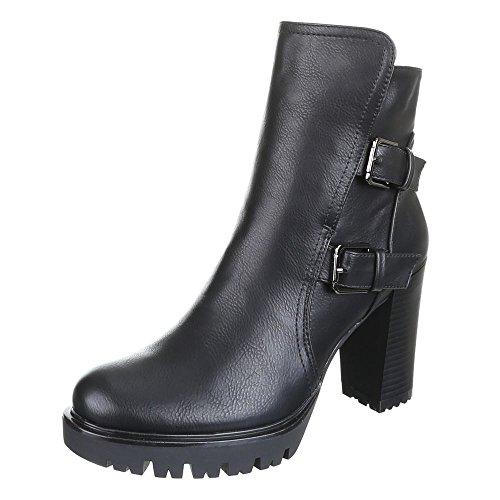 Damen Schuhe, B12212, STIEFELETTEN Schwarz