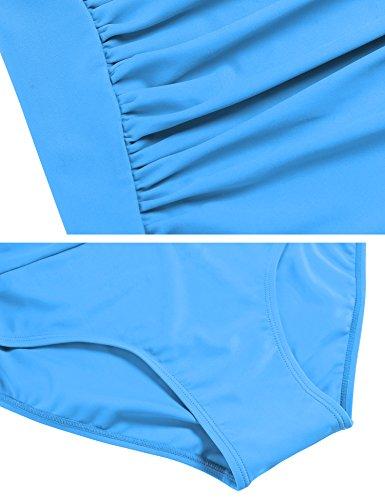 Ekouaer Monokini Badeanzug Damen Einteiler Tankini Schwimmanzug für Damen Figuroptimizer Strand Bademode Himmelblau