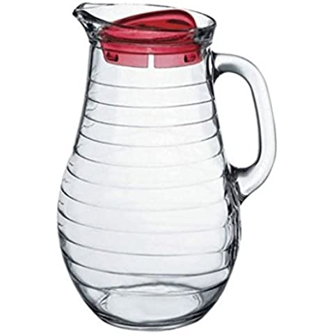 Pasabachce Glass Pitcher with Red Lid, Clear by Pasabachce