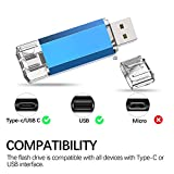 Kootion Memoria USB Tipo C 128GB 3.0 Pendrive USB C OTG 2 en 1 USB Dual Flash Drive Type C USB Stick C Pen Drive Doble para Móviles, MacBook, Tablet, PC, Android (Huawei, Xiaomi, Honor, Samsung), Azul