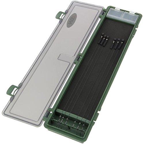 NGT 34,5x 9x 2,5cm große, grüne Aufbewahrungsbox aus Kunststoff mit Angelhaken zum Karpfen-/Süßwasserangeln