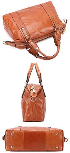 borgasets Luxe New Fashion Lady en cuir véritable Vintage Femme Poignée Croix Corps Sac fourre-tout Sac à bandoulière Sac à main Noir - marron
