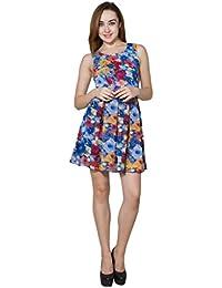 Panit Blue & Multi Printed Georgette Dress