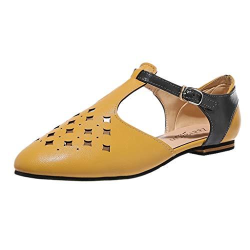(Yvelands Damen Sandalen Schuhe Sommer Sandalen wies Frauen Sandalen Retro Schnalle römischen hohlen Braun39)
