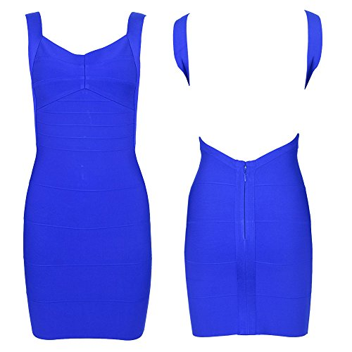 HLBandage Damen Reizvoller Spaghetti Bügel Rückenfreies Schlank Verband-Kleid Blau
