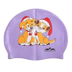 Bonnet de bain pour enfants imperméable et Maillots de bain cheveux et protection d'oreille pour chien Violet