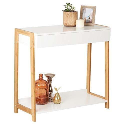 Hartleys tavolo consolle bianco e bambù