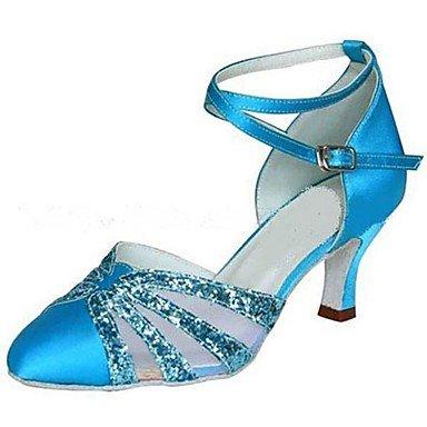 Ruhe @ Damen Latein/Modern Dance Schuhe Satin/Sparkling Glitter Satin Blau Sandalen/Heels Absatz Blau