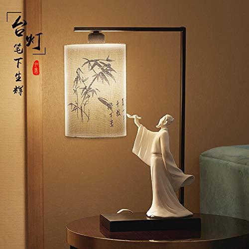 QAZWSX Chinesische Verzierungen Zenschreibtischlampendekorationen Studieren das Retro- Wohnzimmer der chinesischen Art, das nach Hause versorgt@Tischlampe [mit Lampenabdeckung]