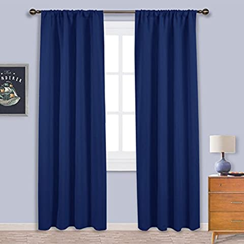 Living Room Blackout Curtains Drapes - PONY DANCE Window Treatments Thermal Insulated Rod Pocket Blackout Curtain Panels / Drape for Bedroom & Home, (Width 42