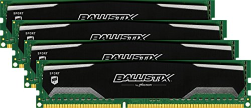 Ballistix Sport 16GB Kit (4GBx4) DDR3 1600 MT/s (PC3-12800) UDIMM 240-Pin Memory - BLS4CP4G3D1609DS1S00BEU