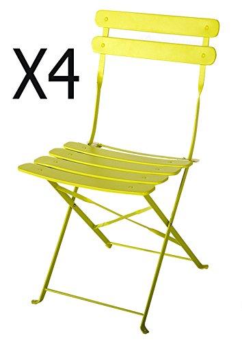 PEGANE Lot de 4 chaises de Jardin en Acier époxy Coloris Vert anis - Dim : 42 X 46 X 80 cm