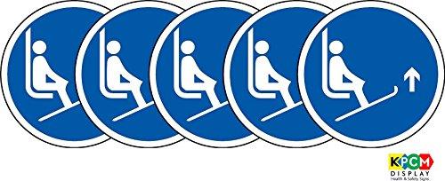 Iso etichetta-Cartello di sicurezza internazionali Lift Ski Tips fino simbolo-Adesivo Adesivo 100mm di diametro (Confezione da 5)