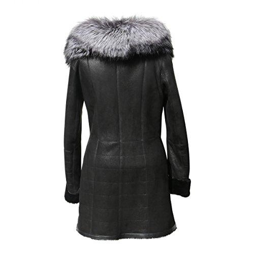 Lammfelljacke - ATESSA Damen Winterjacke Echtleder Merino Felljacke schwarz Size L - 2