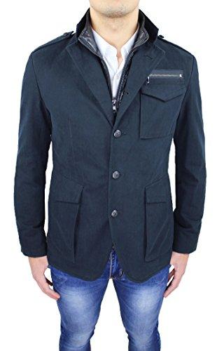 Cappotto uomo sartoriale Alessandro Gilles made in Italy invernale navy casual elegante con gilet interno (M)