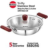 Hawkins Tri-ply Stainless Steel Deep-Fry Pan 2.5 Litre with Glass Lid
