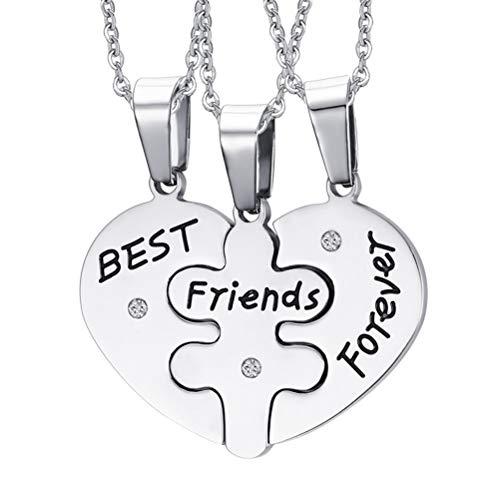 TENDYCOCO Halsketten Anhänger Halsketten 3 stücke Freundschaft Puzzle Halsketten Beste Freunde Für Immer Mitteilungen für Frauen Mädchen