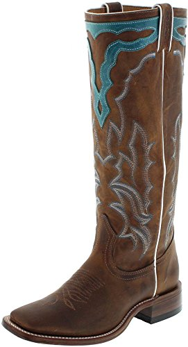 FB Fashion Boots Boulet 6205 C Golden Turqueza/Damen Buckaroo Stiefel Braun/Reitstiefel/Westernstiefel/Damenstiefel/Longshafter, Groesse:38.5 (7.5 US) (Leder Stiefel Buckaroo)
