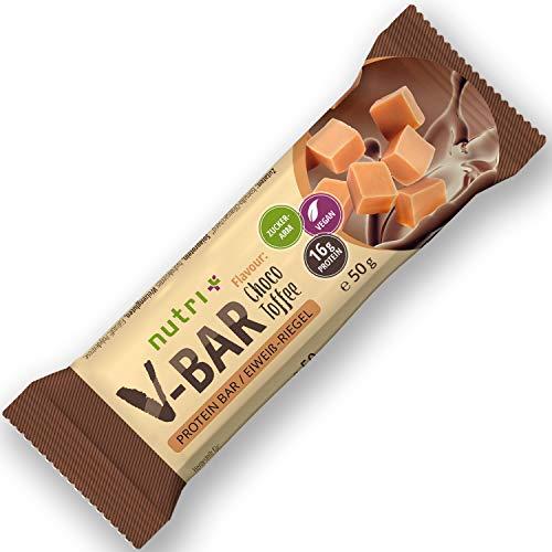 V-BAR Proteinriegel 24er Box - High Protein Bar Vegan 50g - LowCarb Riegel Choco Toffee Geschmack - nur 155 Kalorien - 16 g Eiweiß - veganer Eiweißriegel ohne Zusatz von Zucker