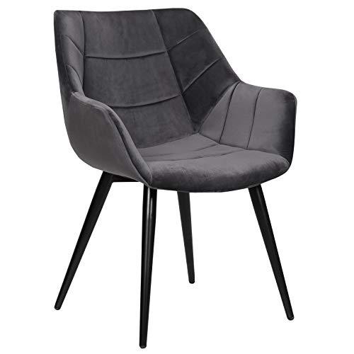 WOLTU Esszimmerstühle BH148dgr-1 1x Küchenstuhl Wohnzimmerstuhl Polsterstuhl mit Armlehen Design Stuhl Samt Metall Dunkelgrau