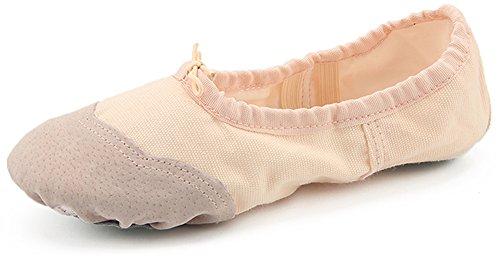 Dreamone Balletschläppchen Ballettschuhe Tanzen Schläppchen Gymnastik-Schuhe Damen Mädchen, Beige, 37 EU