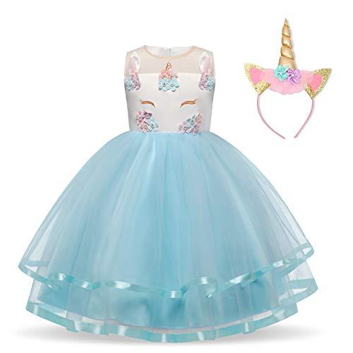 NNJXD Mädchen Einhorn-Partei-Kostüm Blume Cosplay Hochzeit Halloween-Abendkleid Prinzessin + Kopfbedeckung Größe (110) 3-4 Jahre Blau