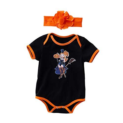 Mädchen 2 Stück Halloween Drucken Kurzarm Rundhals Overalls Schlafanzug+Blume Stirnband Säugling Spielanzug Baby-Nachtwäsche Hosen Tops Jumpsuit Outfit Bodysuit ()