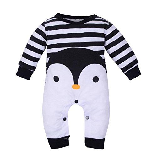 Zolimx Bodies Bebe Manga Larga, Ropa Bebe Niño Invierno Pingüino de Dibujos Animados Lindo Imprimir Monos para Recien Nacido Niña (Negro, 6 Meses)