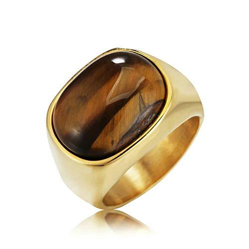 AnazoZ Schmuck Herren Ringe Herrenring Edelstahl Verlobungsring für Männer Ovales Tigerauge Siegelring Bandring Verlobungsring Biker Ring für Männer Gold 65 (20.7)