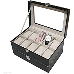 Watch Bracelet Display Box - TOOGOO(R)PU Leather 20 Grid Slot Watch Bracelet Display Box Jewelry Storage Organizer