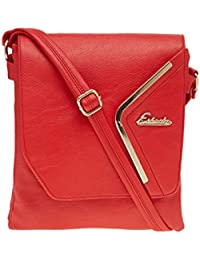 ESBEDA Red Solid Pu Synthetic Material Slingbag For Women & Girl