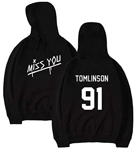 Leslady Unisex Felpe con Cappuccio One Direction 1D Miss You Cool Hip Pop Pullover Louis Tomlinson Fans (Black,5335,M)