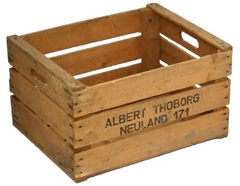 AT caisse à fruits robuste en bois style pays ancien naturel 49 x 39 x 29 cm