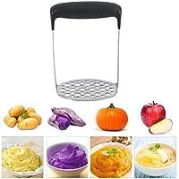 Machacador de Patatas, Trituradora de Patata de Acero Inoxidable, Prensa Patatas, Fruta Prensa/Alimentación Infantil Colador, Filas de Malla de 6 mm y 9 mm