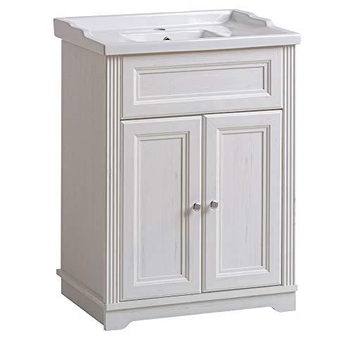 Lomadox Badmöbel Einzel Waschplatz 60cm, Waschtisch-Unterschrank inkl Keramikwaschbecken, Vintage Landhaus Design, Andersen Pine weiß, 2 Türen, 1 Einlegeboden -